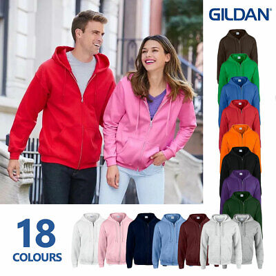 Gildan Heavy Blend Plain Zipped Hooded Sweatshirt Hoodie Sweat Zoodie Jumper