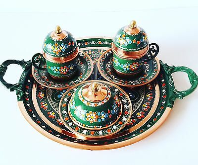 handmade Ottoman Turkish Coffee set Espresso Cup&Saucer,Copper&Porcelain