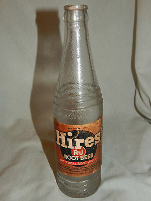 Hires R-J Root Beer  Embossed Glass 12 oz. Soda Bottle w/ Paper Label USA
