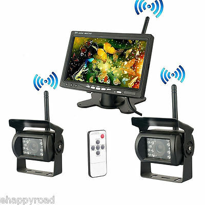 """2 Wireless Night Vision Rearview Backup Camera System+7""""Monitor for RV Truck Bus"""