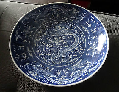 old chinese dragon porcelain plate with mark