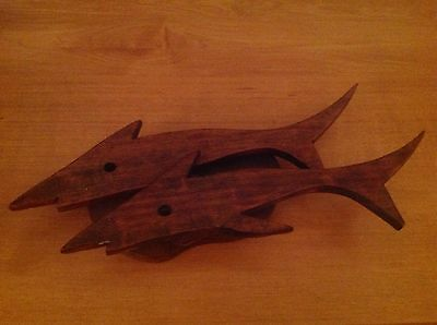Vintage Handmade Wood Dolphin Wall Art Plaque 3D Ocean Fish Beach