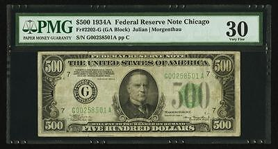 Fr. 2202-G $500 1934A Federal Reserve Note. PMG Very Fine 30
