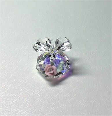 Swarovski Crystal Butterfly with Pink Rose