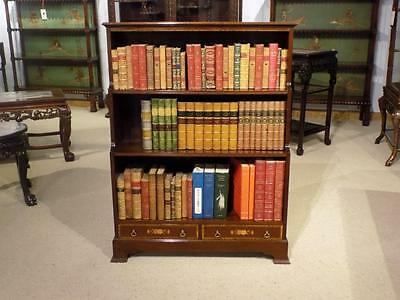 Mahogany Inlaid Waterfall Open Bookcase
