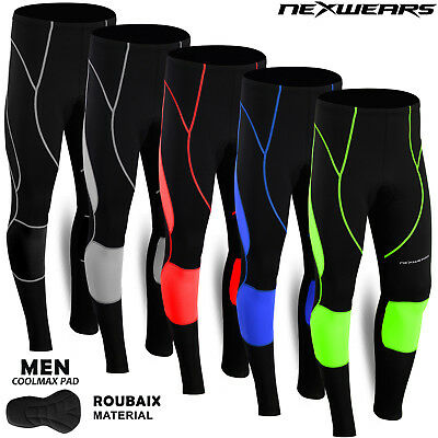 Men Cycling Tights Long Pant Trousers Coolmax Padded Bicycle Bike Compression