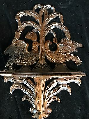Vintage Wood Folding Shelf  Hand Carved Birds And Branches Large