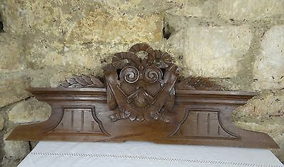 """37""""  Antique French Hand Carved Pediment 19 th - Solid Oak Wood"""