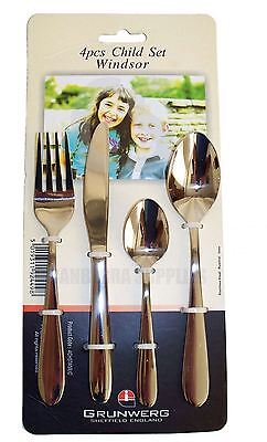 Windsor By Grunwerg 4 Pcs Stainless Steel knife fork spoon Childrens Cutlery Set