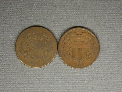 2 Cent Pieces 1864 / 1864  50 cents shipping..................4.25.18