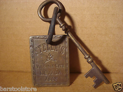 STELLA'S SOLID BRASS BROTHEL ROOM KEY WITH TAG Whiskey Girls Western