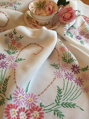 "Pretty Rayon Hand Embroidered Large Floral Vintage Tablecloth 51"" X 46"""