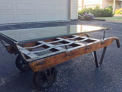 BEAUTIFUL and UNIQUE - Late 1800's Nutting Industrial Dolley Cart Coffee Table