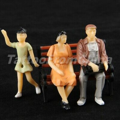 10pcs Colorful Painted Model Railway Passengers Train Scenery Layout Scale 1:25