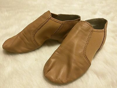 Girls Jazz Shoes DANCE CLASS by Trimfoot Tan Beige Split Sole Size 3 Slip On