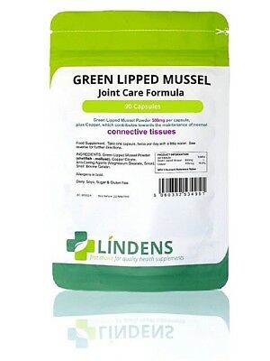 Green Lipped Mussel 500mg Capsules 90 pack Joint Tissue Repair & Growth Lindens