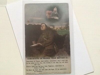 WW1 Military POSTCARD, SOMEWHERE IN FRANCE DEAR MOTHER , No2