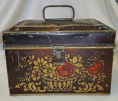 American 19th Century Japanned & Stenciled Flower Basket Decorated Tole Ware Box