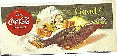 stamped 1953 hard cardboard paper ,Drink Coca Cola in bottles