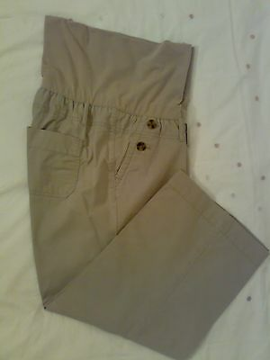 GAP Ladies Beige Maternity Over Bump 3/4 Length Trousers, Size 10
