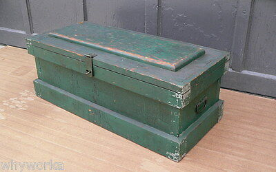 Old Wooden Original Green Paint Carpenters Chest tool box trunk coffee table