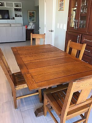Antique Draw Leaf Oak Table & 4 Chairs