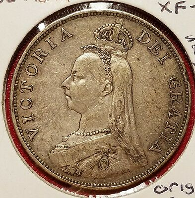 1889 Great Britain Silver Double Florin / Extra Fine Condition / Orig Surfaces