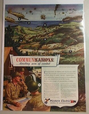 """WWII Color Ad., Western Electric """"Communications...directing arm of combat"""" 1942"""