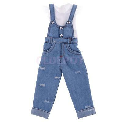 Lovely Light Blue Ripped Suspender Jeans w/Top for 12'' Blythe Doll Clothes