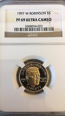 1997 $5 Gold Frank Robinson Commemorative PF69 UC by NGC