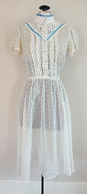 Vintage 70s Floral Summer Dress with Belt Cotton Lace Ribbon Hippie Eyelets