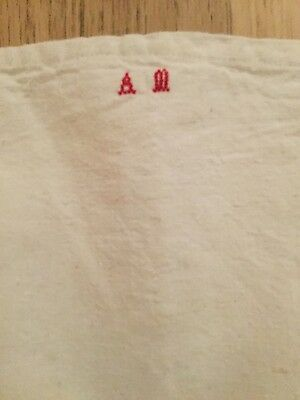 Vintage French Pillow Cusion Case with Embroidered Monogram Solid Cotton