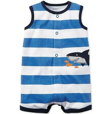Carters New Baby Boys Newborn Shark Blue/White One Piece Romper Outfit