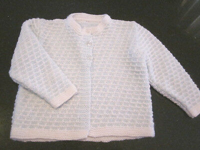 Hand Knitted Baby Matinee Jacket Size 000 New Without Tags