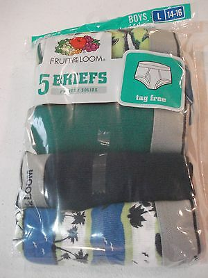 Fruit of the Loom Boys 5 Pack Briefs Size 14/16 Large Prints Solids
