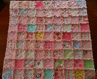NEW Handmade FLANNEL BABY GIRL Nursery Crib RAG QUILT 35 x 36