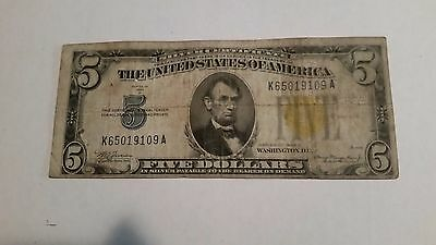 1935A $5 Dollar Bill One Washington Silver Certificate Gold Seal North Africa