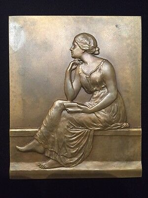 French Art Nouveau Bronze Plaque *pierre Nivert/seated Matron By: Raymond Persin