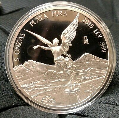 2015 Mexican Libertad 5 oz .999 Silver Bullion Proof Coin - ONLY 1,600 MINTED!