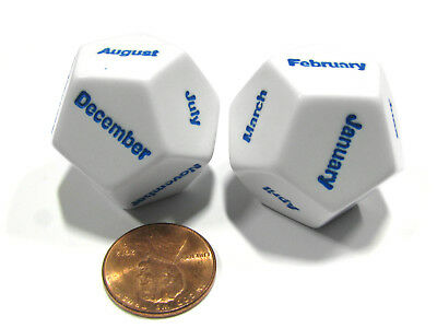 Set of 2 D12 Months of the Year Setting Educational Dice White with Blue Letters