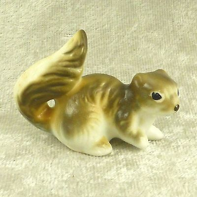 "Vintage Miniature Bone China Squirrel Figurine Forest Woodland Animal 1.5"" Tall"