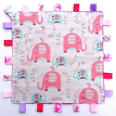 Elephant Splash & Friends Taggie Security Blanket Toy Comforter dummy clip holde