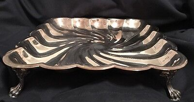 Vintage F.B. Rogers Co. 1883 Silver Plated Footed Srvg Dish Scalloped Swirl  12""