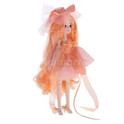 Flexible 30 Joints Fashion Vinyl Jointed Body Doll Toy Gift in Orange Pink