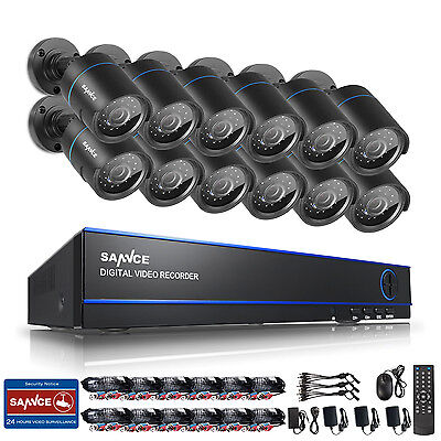 SANNCE 16CH 1080N HD Video 4in1 DVR IR Home Security Camera System Email Alert
