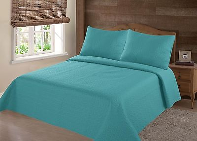 Midwest Turquoise Nena Solid Quilt Bedding Bedspread Coverlet Pillow Cases Set