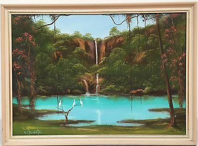 Wayne Clements oil painting, tropical Daintree ?, Queensland Australian artist
