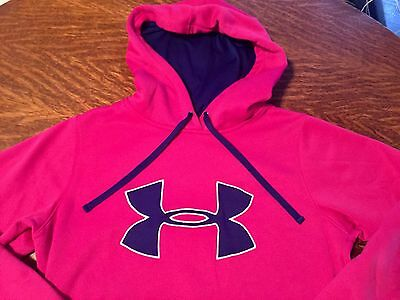 New Women's Under Armour Big Logo Pink Blue Hoodie Size Small