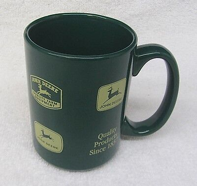 Vtg JOHN DEERE Tractor LOGO MUG Historic Collector Coffee Cup Collection Green