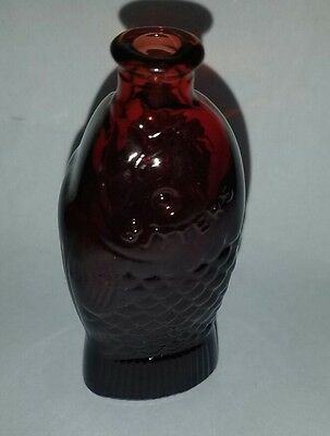 Vintage Doctor Fisch's Bitters Ruby Red Fish Bottle Glass Wheaton N.J.